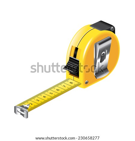 Tape measure isolated on white photo-realistic vector illustration