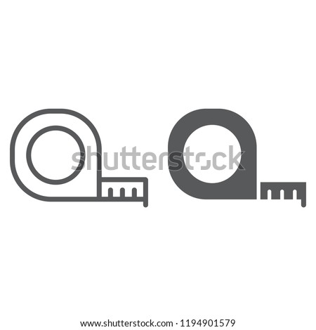 Tape measure line and glyph icon, tool and ruler, construction roulette sign, vector graphics, a linear pattern on a white background, eps 10.