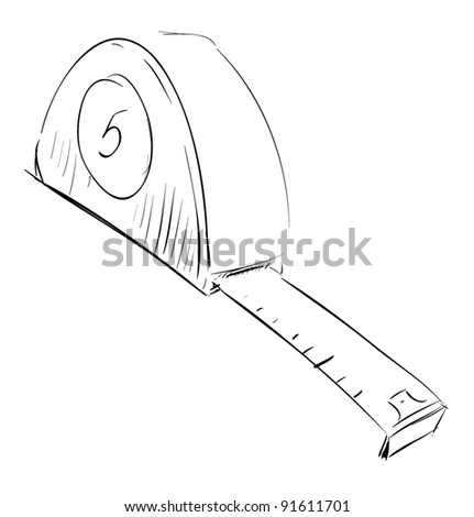 Tape measure meter icon sketch style - stock vector