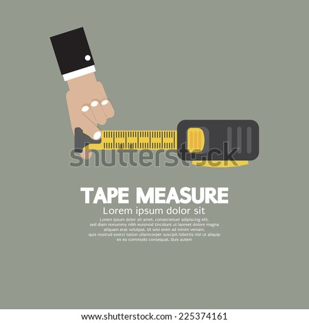 Tape Measure With Man's Hand Vector Illustration