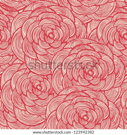 Tapestry floral seamless pattern. Decorative cute background with red roses
