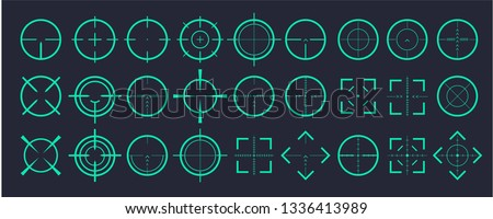 Target aim and aiming to bullseye signs symbol.Creative vector illustration of crosshairs icon set isolated on transparent background. Art design. Vector illustration 10 eps.