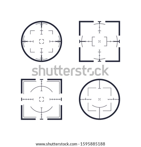 Target and aim, targeting and aiming. Shooting range, target icon collection. Pack of sniper rifle aims isolated. Vector abstract logo template collection, illustration on black background.
