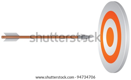 Target and arrow in the perfect center vector image, Business Success Concept, bull's eye, sport symbol