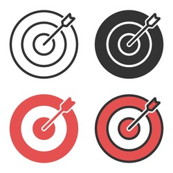 Target and Dartboard Icon Set. Goal Symbol Vector Design on White Background.