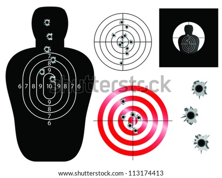 Target and sight vector illustrations with bullet holes