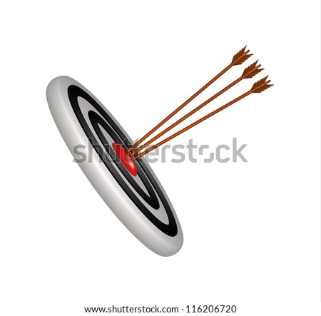 Target and three wooden arrows