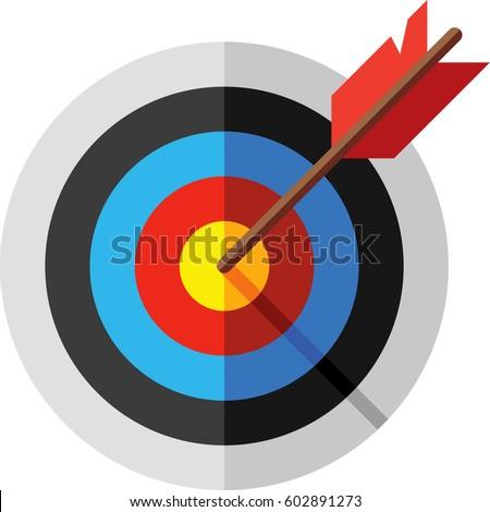 Target, arrow and bulls eye icon