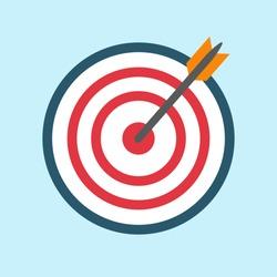 Target arrow icon, bullseye or dart board icon image