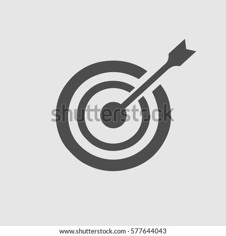 Target arrow vector icon EPS 10. Simple isolated focus goal success symbol.