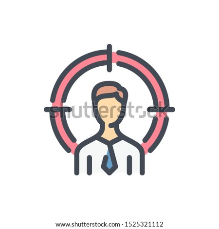 Target audience color line icon. Business person with target vector outline colorful sign.