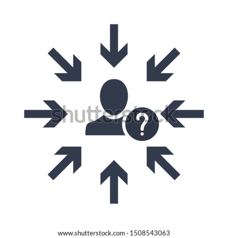 Target audience. Customer, client targeting. Consumer centricity. Focus human icon with question mark, help, how to, info, query symbol