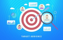 Target Audience Digital Marketing Advertising Segmentation. Sales generation with particular group of consumers. Target market achievement, reaching audience, customer relationship management CRM.