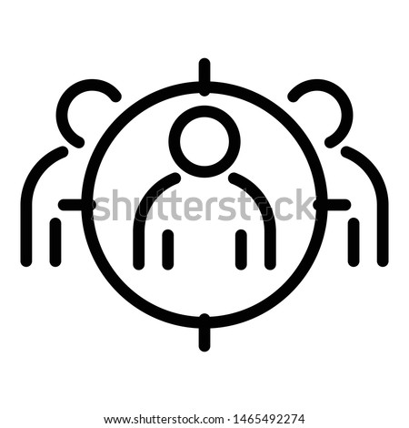 Target audience icon. Outline target audience vector icon for web design isolated on white background