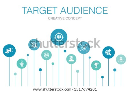 target audience Infographic 10 steps template. consumer, demographics, niche, promotion icons