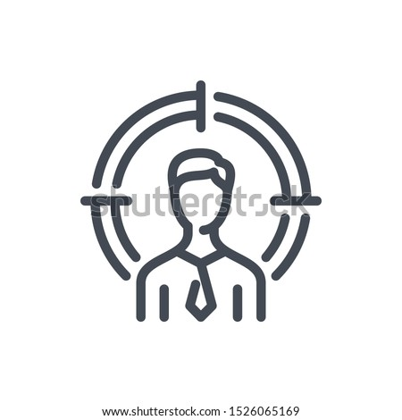 Target audience line icon. Business person with target vector outline sign.