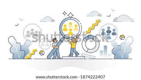 Target audience segmentation and group targeting strategy outline concept. Crowd selection dividing as project customer focus and analyze process vector illustration. Potential client management scene Stock foto ©