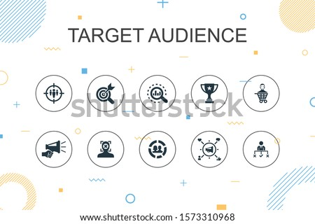 target audience trendy Infographic template. Thin line design with consumer, demographics, niche, promotion icons