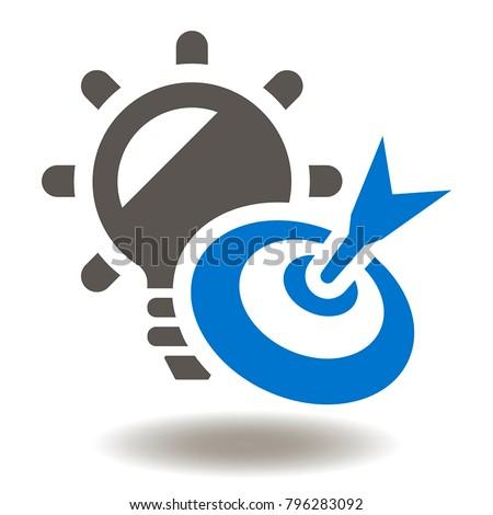 Target Bulb Icon Vector. Goal Idea Illustration. Success Brainstorm Creative Work Impact Business Logo Symbol.