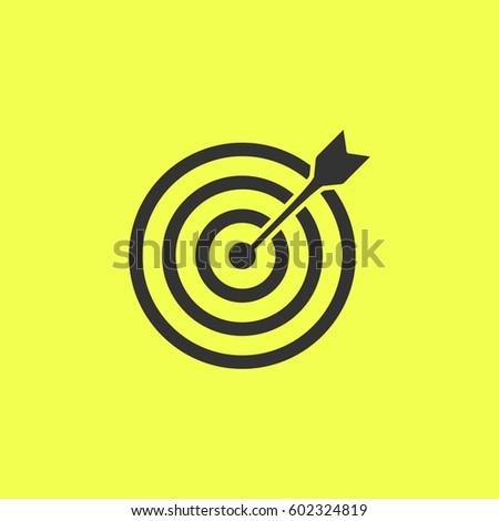 Target bullseye arrow icon flat.