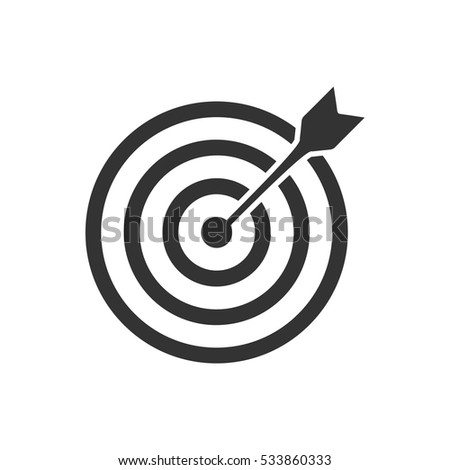 Target bullseye arrow icon flat. Illustration isolated on white background. Vector grey sign symbol