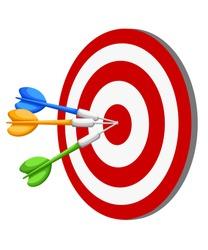 Target Dart arrow hitting center target on white background, flat vector illustration Web site page and mobile app design vector element