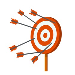 Target for arrows. Business concept several attempts. Shooting and championship. Cartoon flat illustration. Hit and miss on target. Red and white aim. Competition and victory