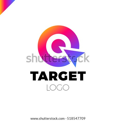 Target hit two circle with arrow Branding Identity Corporate vector logo design template Isolated rainbow gradient