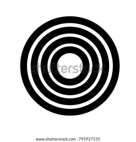 Target icon. Circular art. Dartboard sign.  Pattern element. Flat design. Vector Illustration.