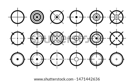 Target icon set in thin line style, flat design, vector clipart
