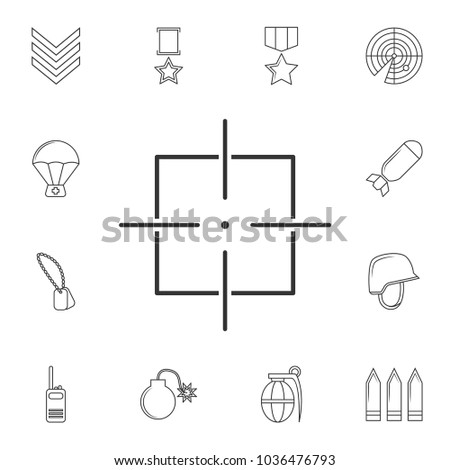 Target icon, sight sniper symbol line icon .Element of popular army  icon. Premium quality graphic design. Signs, symbols collection icon for websites, web design,