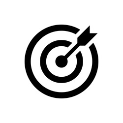 target icon. successful shot in the darts target. isolated on white background. vector illustration