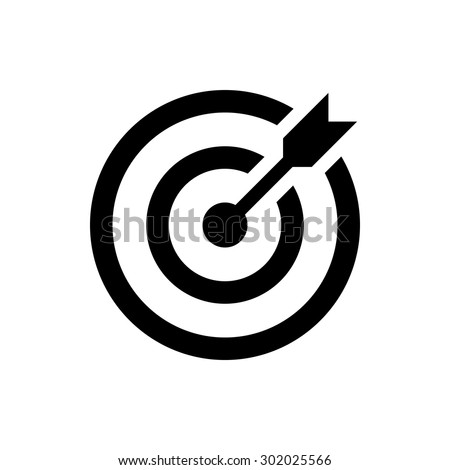 Shutterstock target icon. successful shot in the darts target. isolated on white background. vector illustration