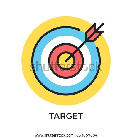 Target icon. Target and arrow symbols. Mission, objective, bull's eye concepts. Modern flat design thin line elements. Vector icon isolated on white background