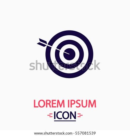 Target Icon Vector. Flat simple pictogram on white background. Illustration symbol