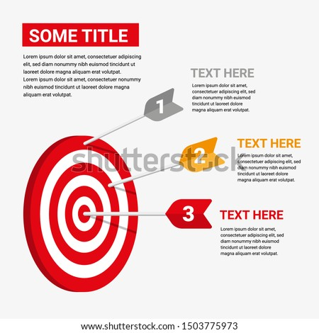 target infographic with three arrows. element vector with three steps and infographic options. for information on business target goals. vector illustration of target infographic.