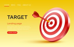 Target landing page, banner business 3d icon. Vector illustration