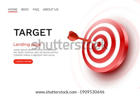 Target landing page, banner business 3d icon. Vector illustration Foto stock ©