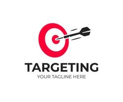 Target logo design. Dartboard and dart vector design. Target goal and arrow logotype