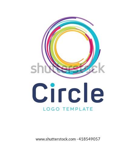 Target logo. Round logo. Planet logo. Circle logo. Abstract colored target logo