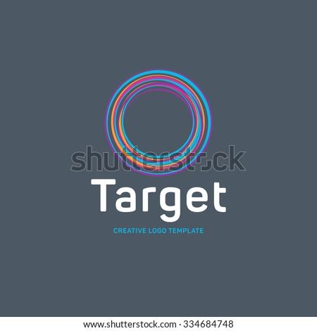 Target logo. Round logo. Planet logo. Circle logo. Spiral logo