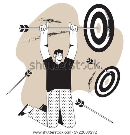Target market, group or customer concept in simple black and white line style for website, mobile application design or social media ads. Man holds arrow that hit target or bull's-eye. Work success.
