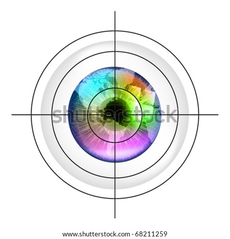Target on earth globe in multicolor human eye. EPS10 vector illustration. - stock vector