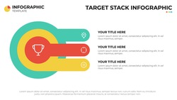 Target or goal diagram with 3 options, infographic element, presentation layout template vector