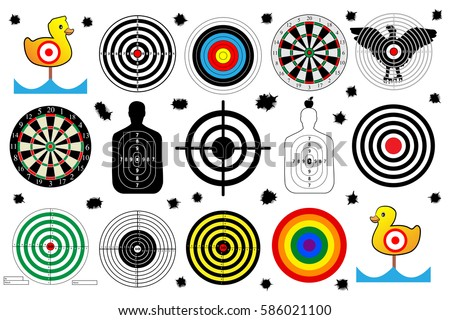 target shooting range, bullet holes, set vector shoot