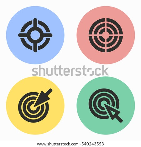 Target vector icons set. Illustration isolated for graphic and web design.