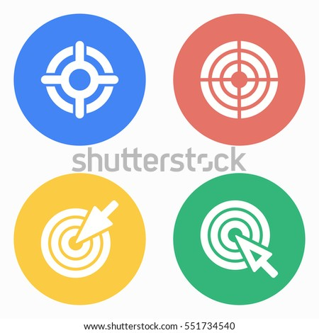 Target vector icons set. White illustration isolated for graphic and web design.