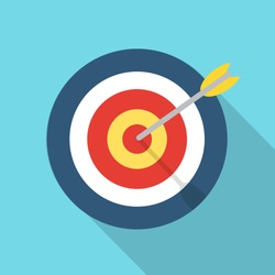 Target with an arrow flat icon concept market goal vector picture image. Concept target market, audience, group, consumer. Bullseye or goal Isolated sign. Illustration of a target with an arrow.