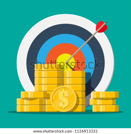 Target with arrow and pile of gold coins. Goal setting. Smart goal. Business target concept. Achievement and success. Vector illustration in flat style
