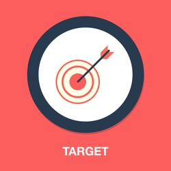 Target with arrow, Goal achieve concept. Vector illustration isolated on white background - Concept target market, audience, group, consumer